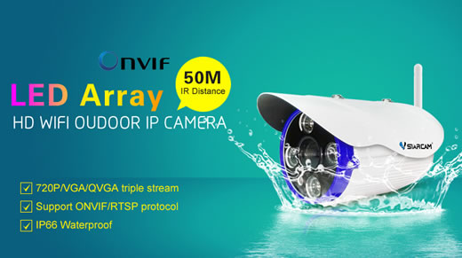 กล้อง IP Camera C7850WIP Outdoor Waterproof IP Camera Vstarcam ,Visble TF card Slot,Array IR LED 50M IR Distance.