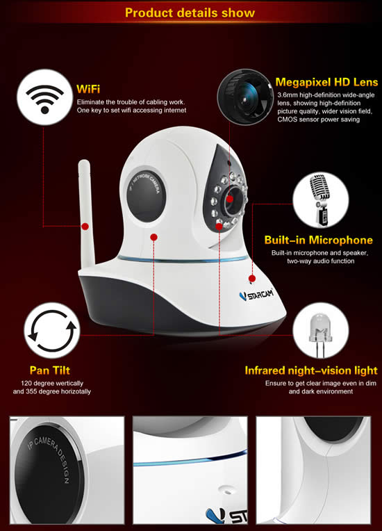 Vstarcam  P2P Ip Camera 720P WIFI model C7838WIP