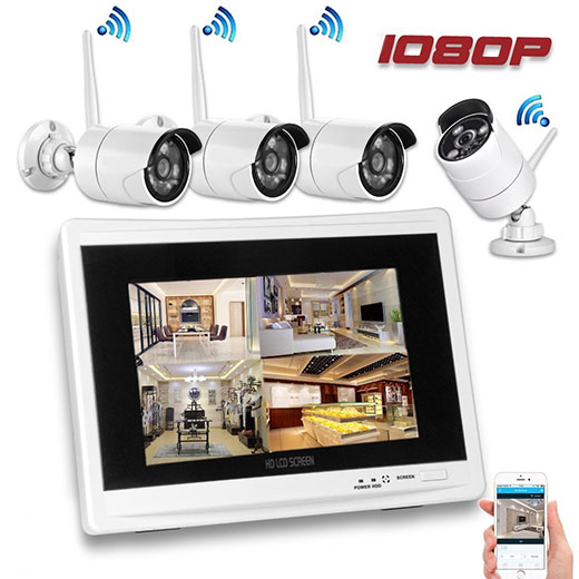 "11.7"" LCD Monitor 4 Channel 2.0 Megapixel Screen CCTV Surveillance Kit  Full HD Recording"