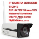 กล้อง IP CAMERA OUTDOOR รุ่น THZ112  P2P HD 720P Wireless WiFi  Waterproof Surveillance with PIR Alarm Sensor